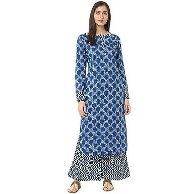 2a532856a1 Jaipur Kurti Indigo Printed Kurta with Palazzo Trousers (JKPLZ2800_Indigo_Small)