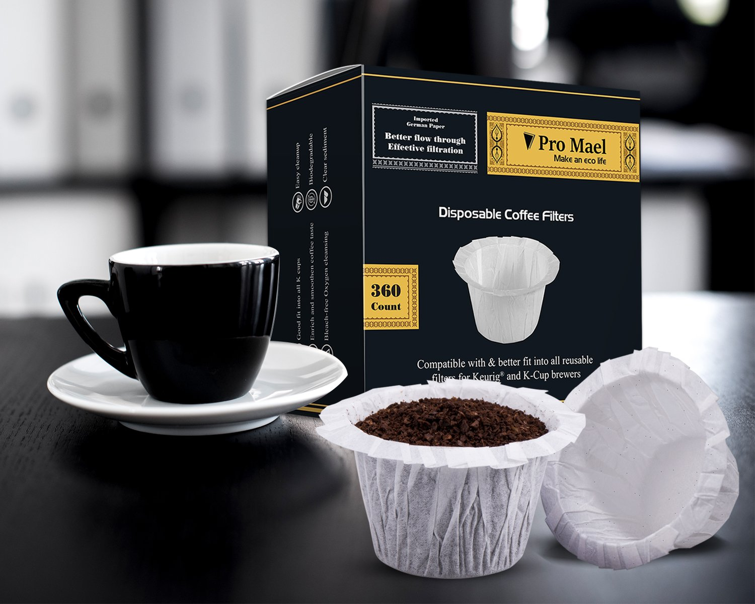Disposable Coffee Filters 4 Pack 1440 Counts Coffee Filter Paper for Keurig Brewers Single Serve 1.0 and 2.0 Use with All Brands Reusable K Cup Filter by PRO MAEL (Image #6)