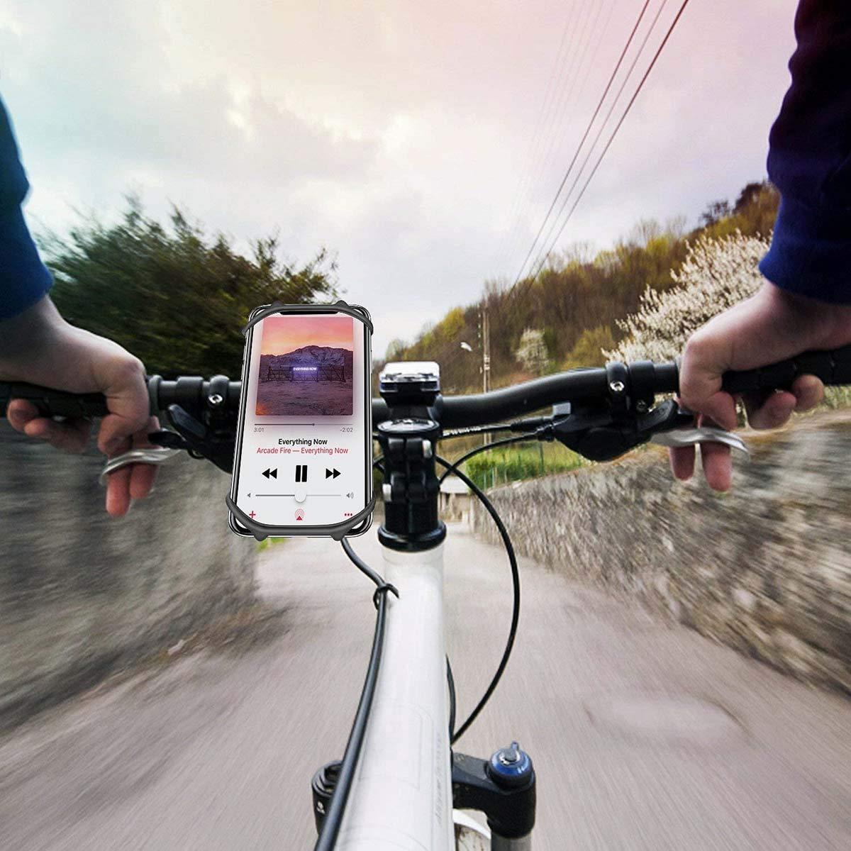 Soporte M/óvil Bicicleta Bothink Soporte M/óvil Moto /& Bici Ajustable Silicona Soporte De Tel/éfono Para Bicicleta Manillar Compatible con iPhone Samsung y 4-6 Smartphones Negro 1+1
