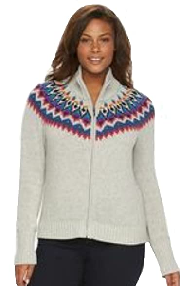 Chaps Women's Fairisle Zip Front Mock Neck Cardigan Sweater (2X ...