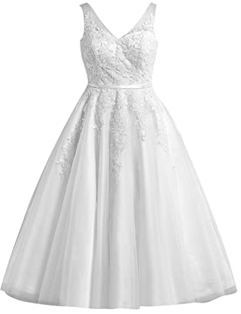 EDressy Women\'s Tulle Lace Short Wedding Dresses Applique Bridal ...