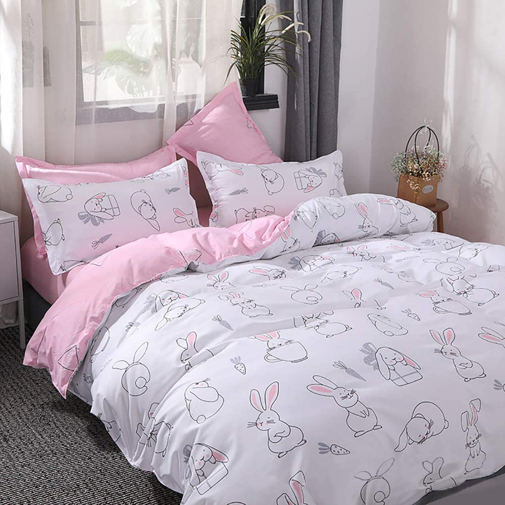 Choicehot Rabbit Duvet Cover Sets Printing Animal Pattern Bedding Sets With Pillowcase Sets Woodland Friends Easy Care Quilt Cover Hares Beddings For Kids Single Size Amazon Co Uk Kitchen Home