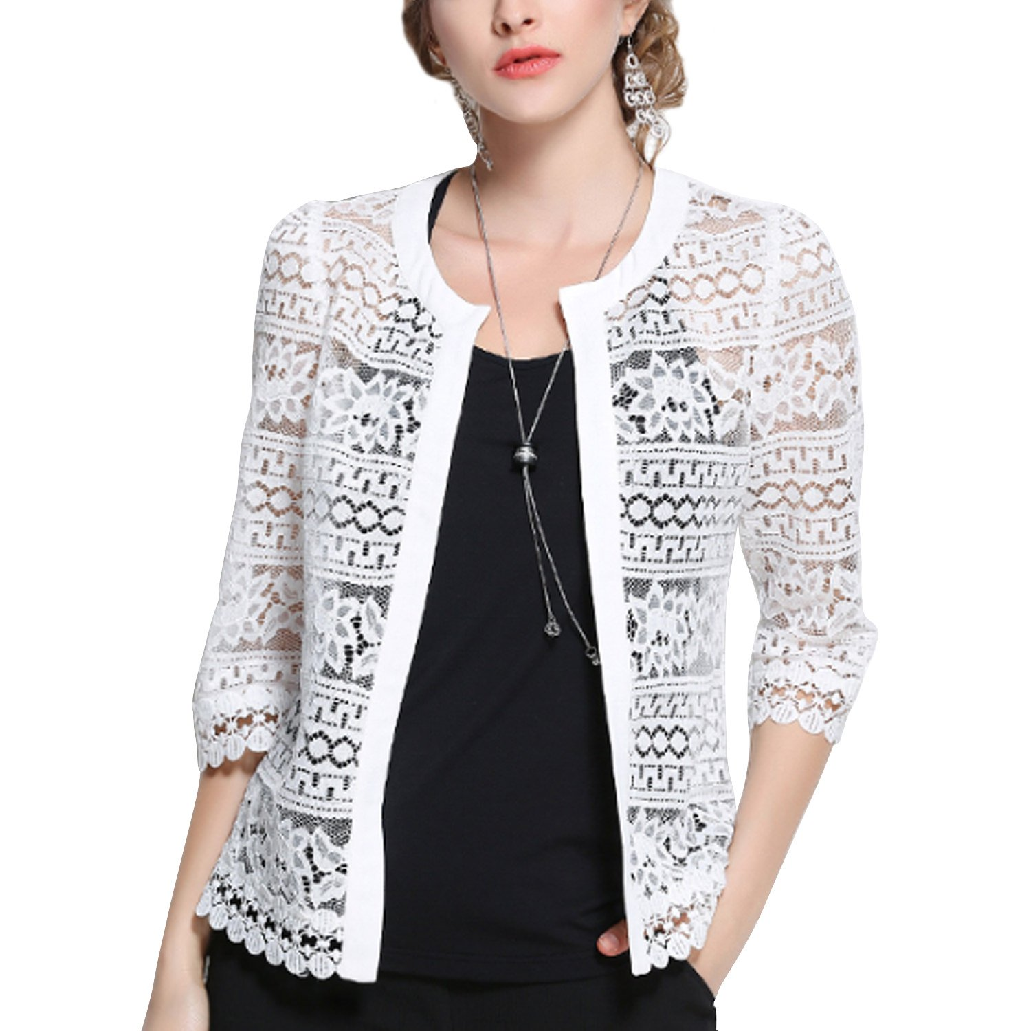 Inshine Women Lace Crochet Sheer Open Front Mesh Cardigan Coat PW2016196