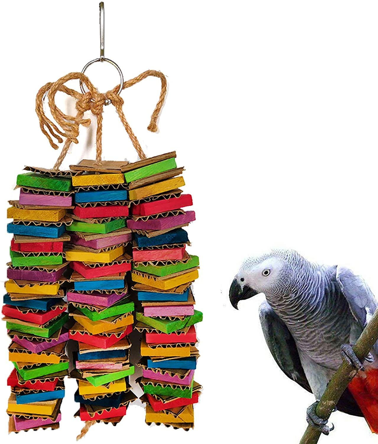 Foris DIY parrot Bird Toy Accessories Wooden Block Chewing cockatiel Toys african grey for Parrots Colourful Plastic Hooks Chain Hanging Climbing bird cage budgie Swing Toy for budgies