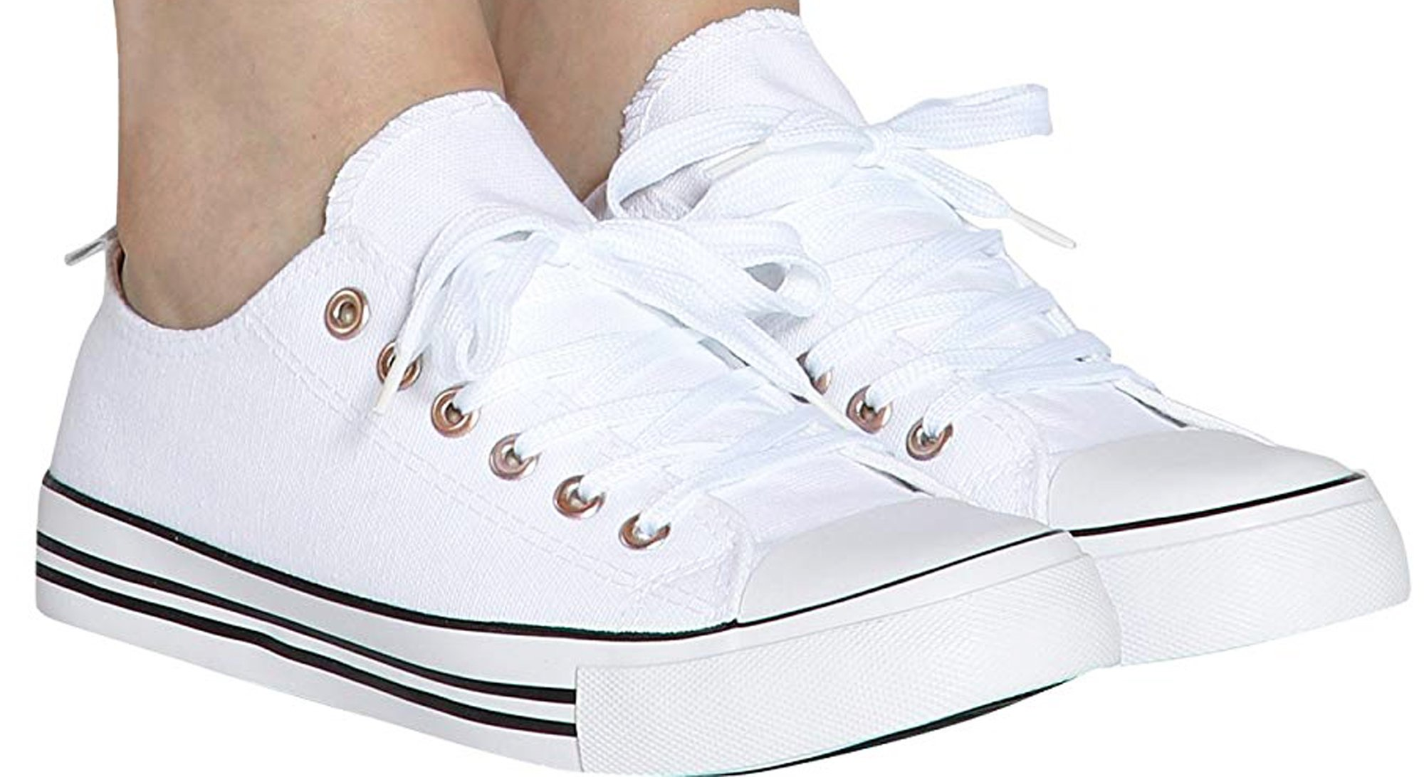 Shop Pretty Girl Women's Sneakers Casual Canvas Shoes Solid Colors Low Top Lace up Flat Fashion (9, White Classic)