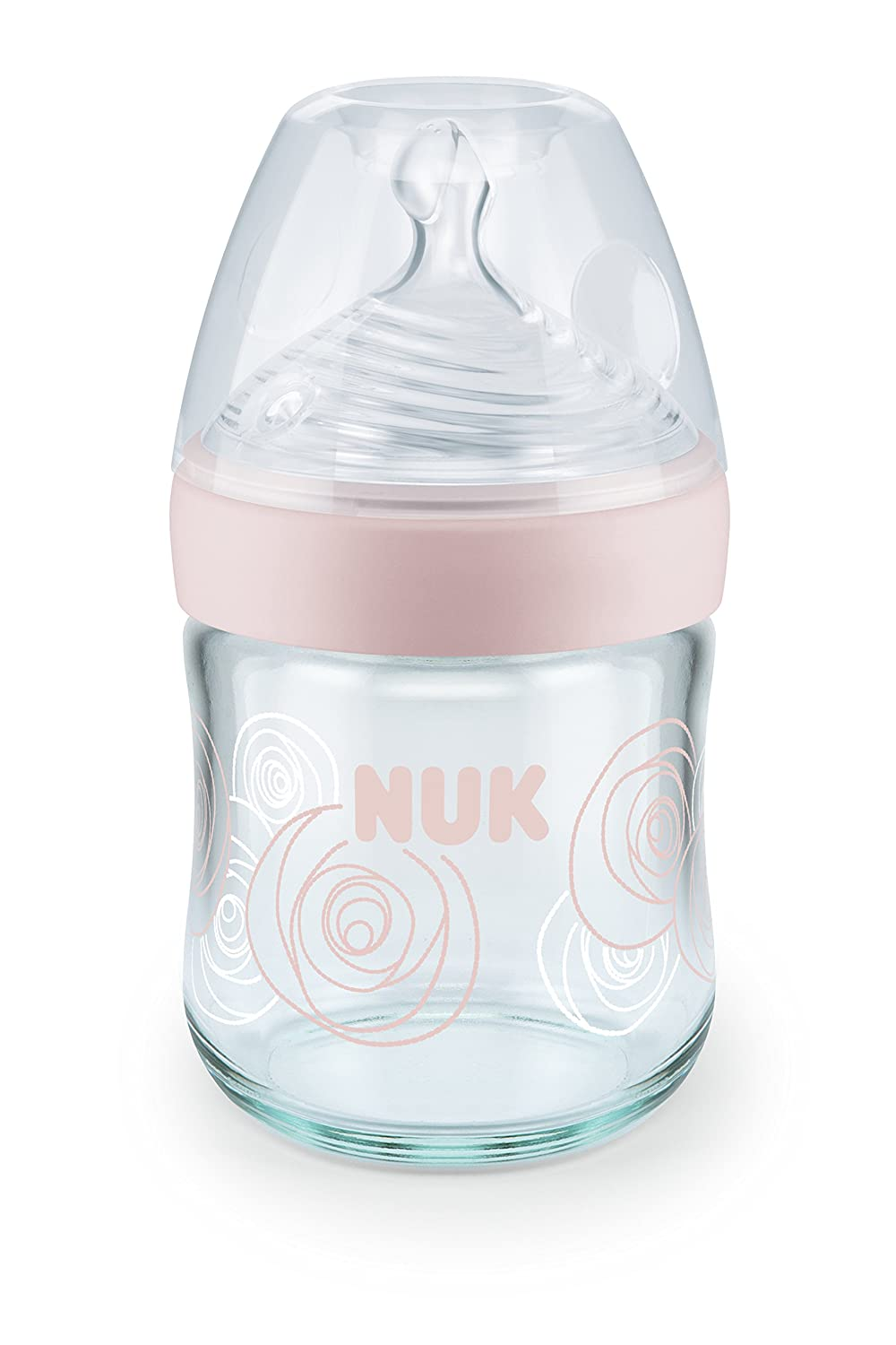 NUK Nature Sense Glass Bottle with Silicone 0-6 Months, S (3 Tiny Openings for Breast Milk, Tea, Water), Holds 120 m Pink