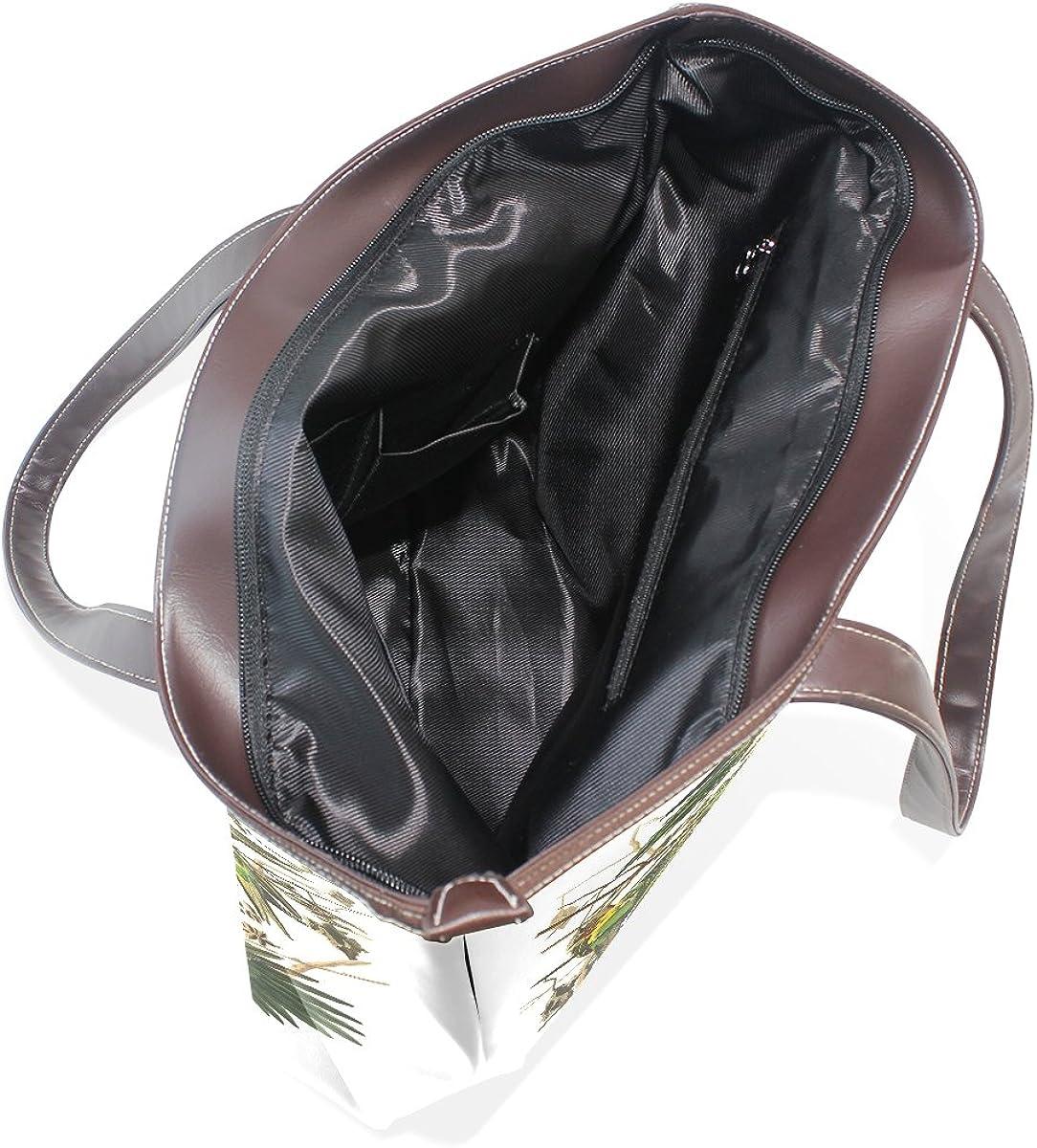 BYouLockX Plate Carolina Parrot Final Pattern Leather Handbags Satchel ShoulderBag for Women