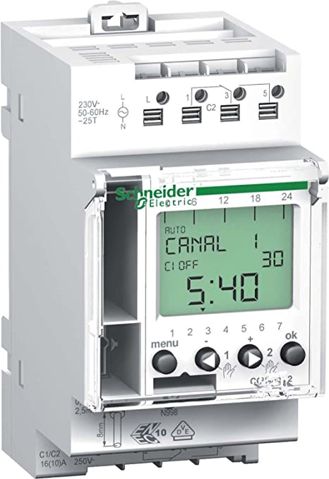 Schneider cct15852 IHP, Temporizador, Digital, 2 Canales, 7d 24 h, FR