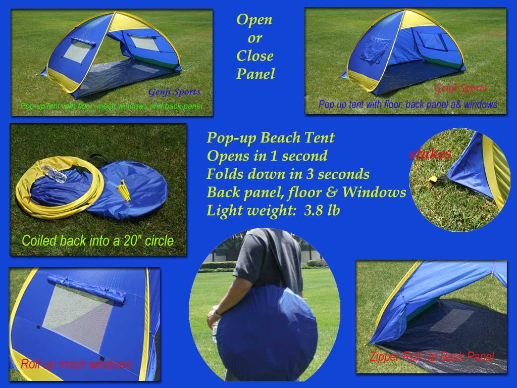 Amazon.com  Genji Sports Instant Outdoor and Beach Tent Blue/Yellow Trims One Size  Sports u0026 Outdoors  sc 1 st  Amazon.com & Amazon.com : Genji Sports Instant Outdoor and Beach Tent Blue ...