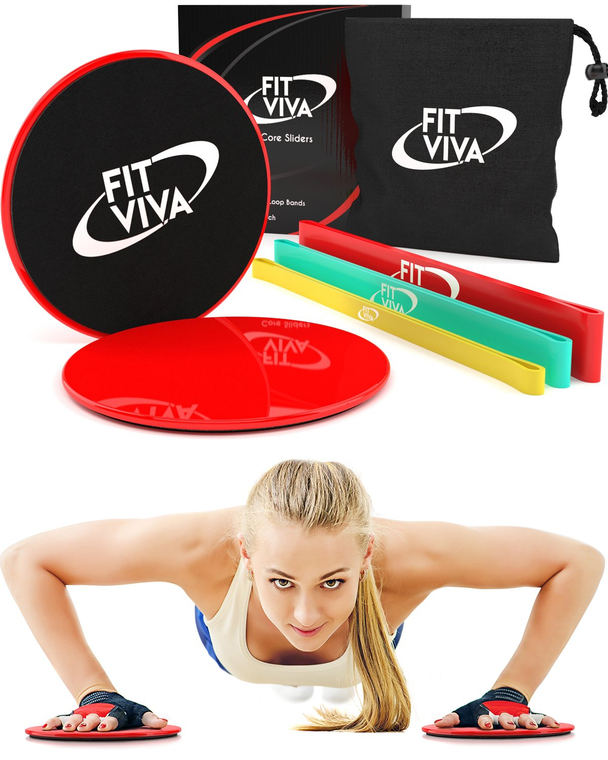 Professional Extra Thick Resistance Loop Bands and Workout Sliders Fitness Bundle with Exercise eBook - Lightweight Workout Equipment for Home