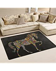 Naanle Animal Area Rug 1.8'x2.7', Rainbow Horse Polyester Area Rug Mat for Living Dining Dorm Room Bedroom Home Decorative