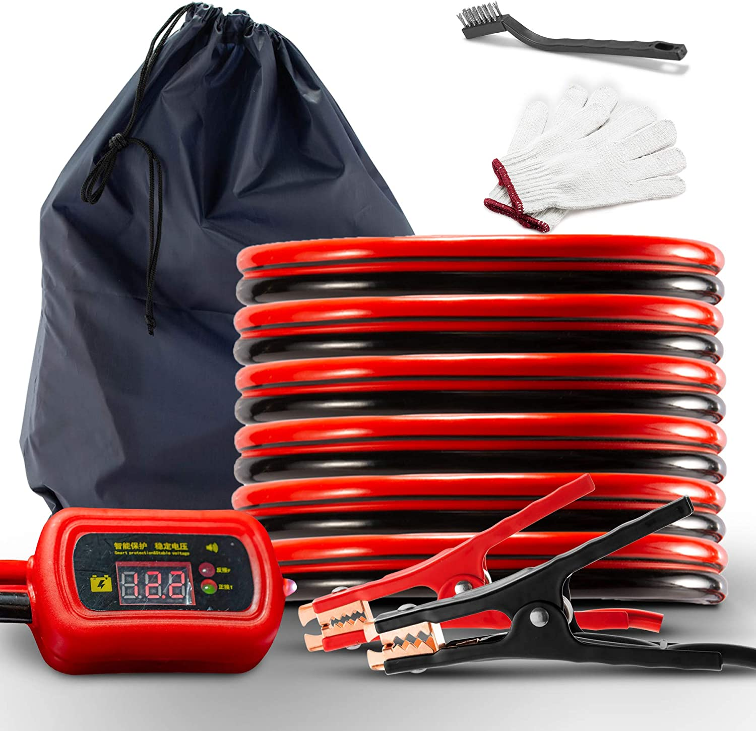 GWJ Jumper Cables with LED Light 4 Gauge 25 Feet Heavy Duty Booster Cables with Carry Bag Safety Gloves and Brush