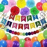 誕生日 飾り付け セット Besttruket 6つのペーパーフラワー バルーンカラーの誕生日セット HAPPY BIRTHDAYガーランド 誕生日デコレーション 部屋の飾り パーティー デコレーション