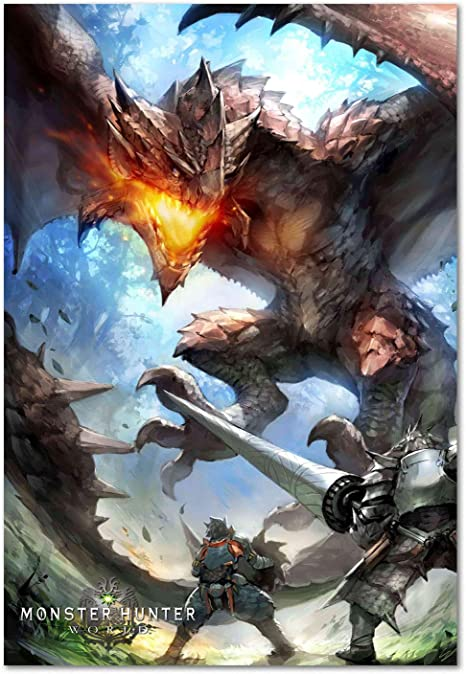 Impresión Pira Monster Hunter Poster Juego Mundo Exclusivo Arte Playstation 4 Xbox 360 Juegos De Pc Póster Home Kitchen