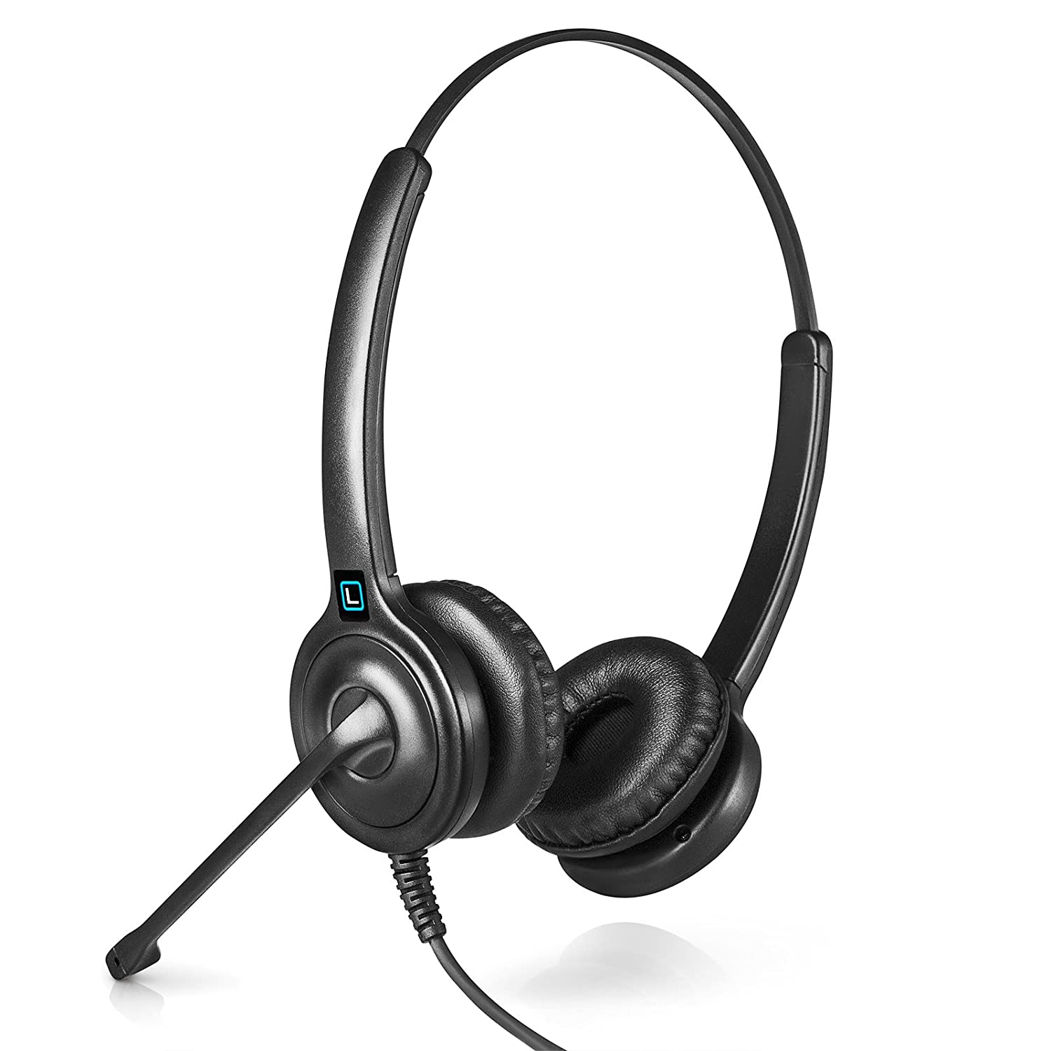 Includes a 5-Year Warranty Also works with Plantronics M22 Amp and Headset Accessories Works with 98/% of Corded Office Phones Leitner LH245 Dual-Ear Corded Office Telephone Headset with Cord