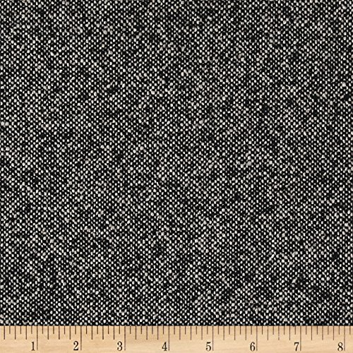 Amtex Boucle Wool Blend Coating Fabric by The Yard, Black/Grey