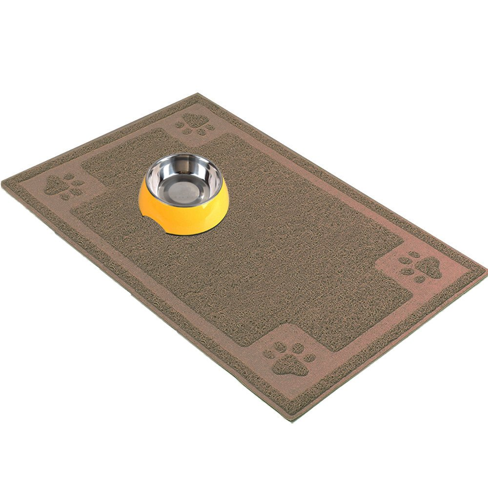 H&ZT Dog Cat Bowl Mat,Pet Feeding Mat for Dogs and Cats,Non-Slip Absorbent Waterproof Dog Food Mat (20''x12'', Brown)