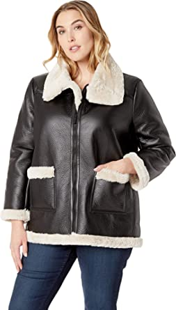 60d7c5150bc Vince Camuto Specialty Size Womens Plus Size Long Sleeve Pleather Shearling  Trimmed Jacket Rich Black 2X