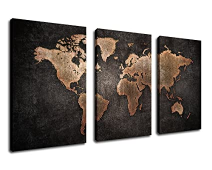 Amazon yearainn canvas wall art vintage world map painting with yearainn canvas wall art vintage world map painting with grunge textures black background 30quot gumiabroncs Gallery