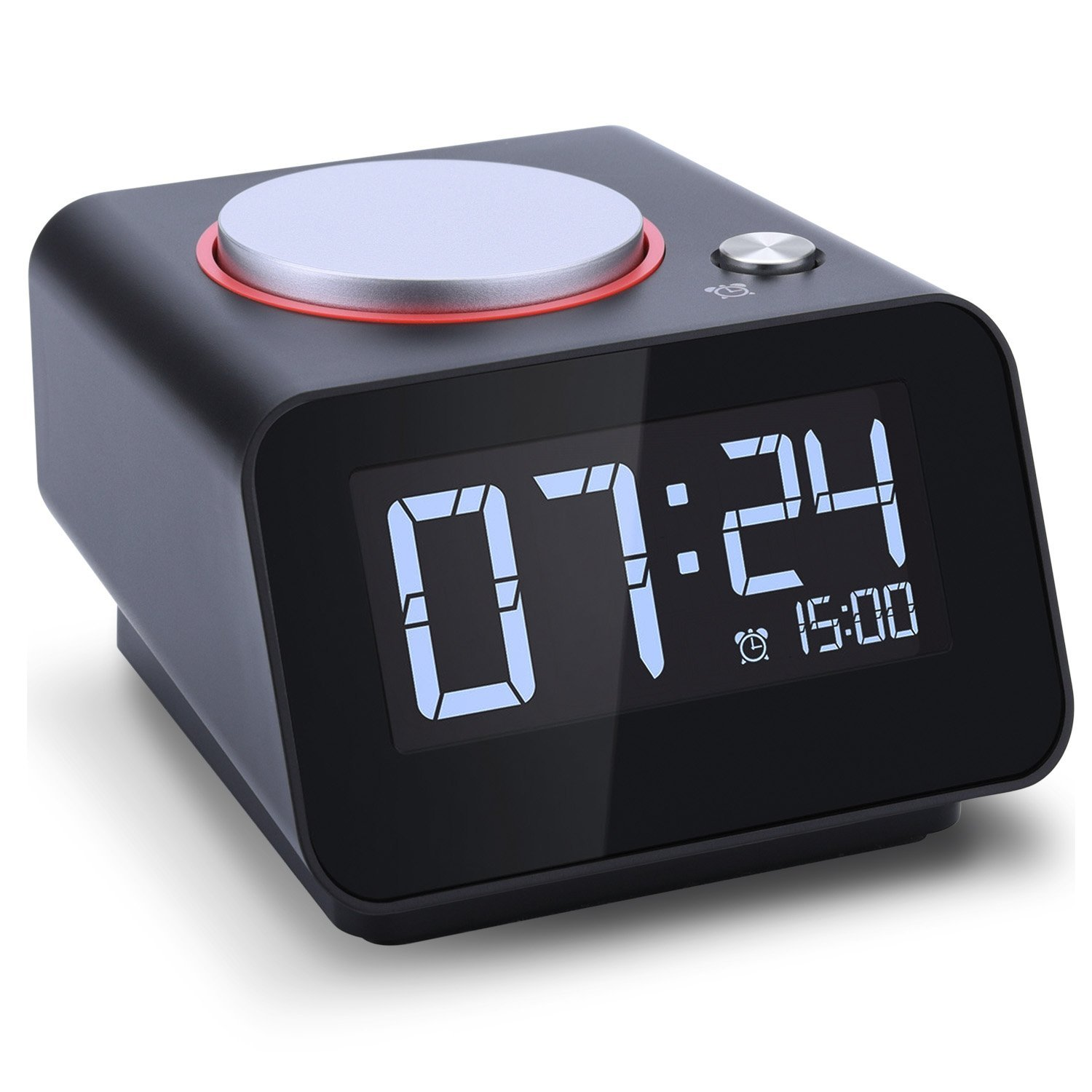 Alarm Clock with USB Charger,Dual USB Charging Port for IPhone and Android with Snooze and 4 Dimmable Funtion (Black)