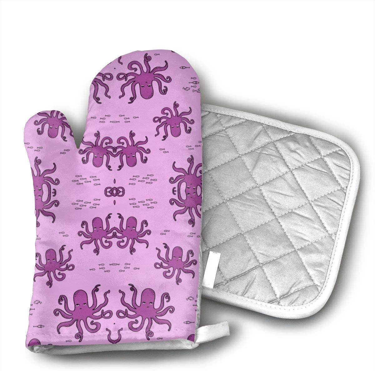 Teuwia Octopus Purples Octopi Fabric Ocean Animals Baby Oven Mitts and Pot Holders Baking Oven Gloves Hot Pads Set Heat Resistant for Finger Hand Wrist Protection