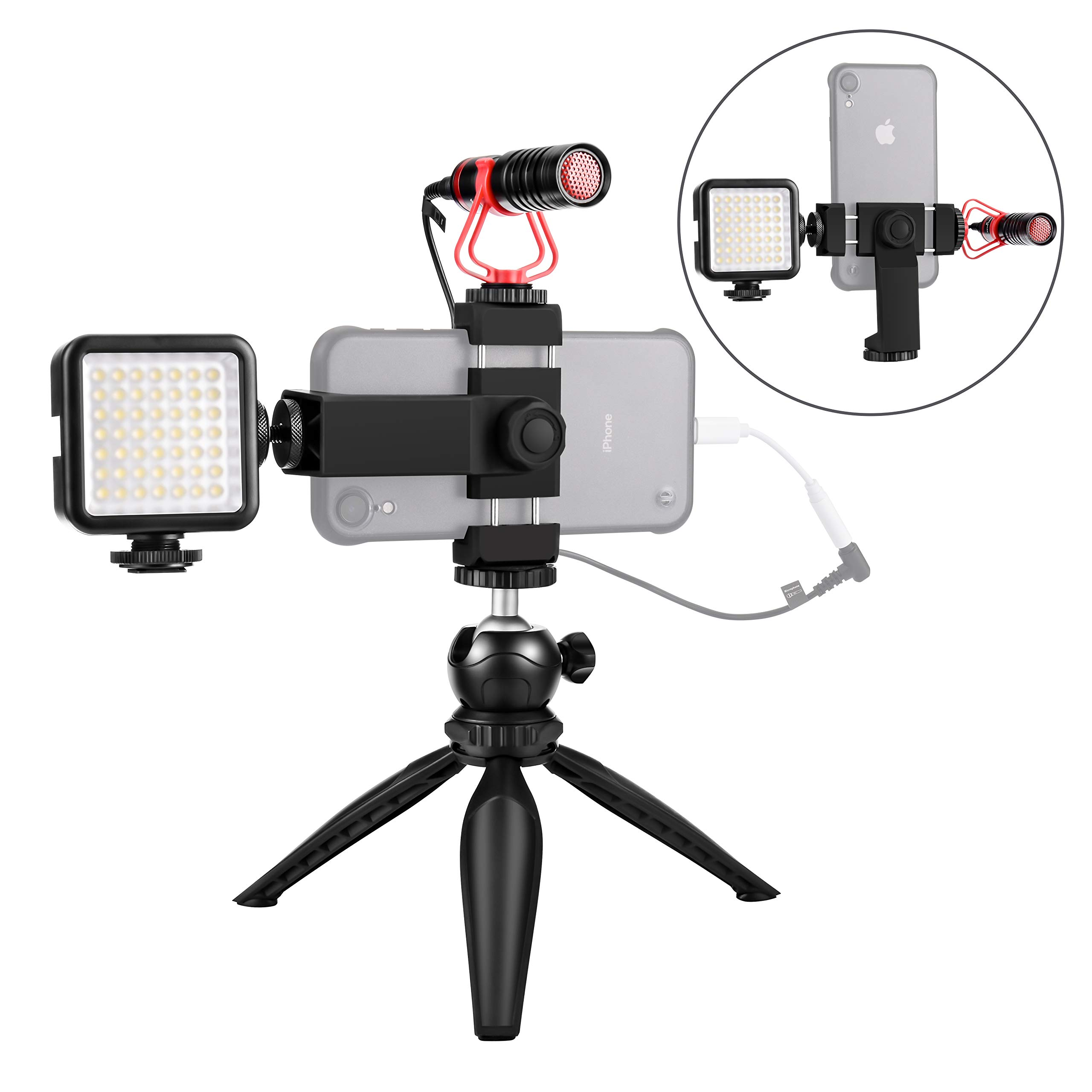 Smartphone Video Microphone Kit with LED Light,Phone Holder,Tripod Vertical & Horizontal Vlog YouTube Video Kit for iPhone 7 8 X XS MAX 11 Pro Samsung Huawei by Lenton