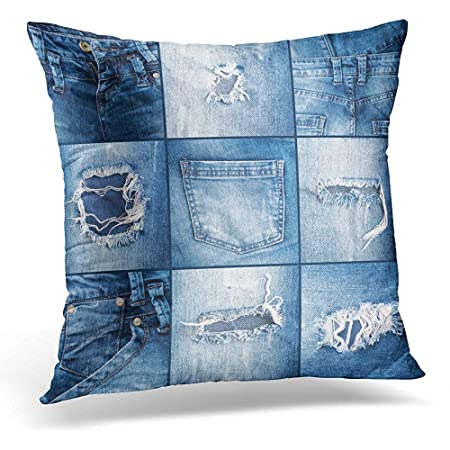 Cuscini Di Jeans.Egoa Fodera Per Cuscino Denim Blu Di Jeans Strappati Fodera Per