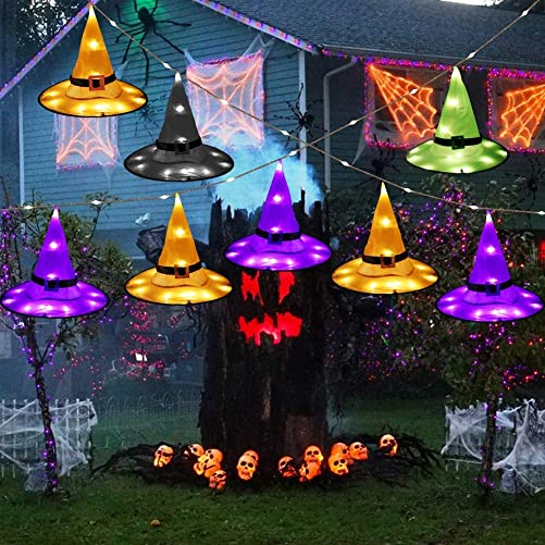 OurWarm 8pcs Halloween Hanging Lighted Witch Hats String Lights, Waterproof Halloween Glowing Witch Hats for Halloween Outdoor Decorations Tree Yard Garden Decor 8 Lighting Modes