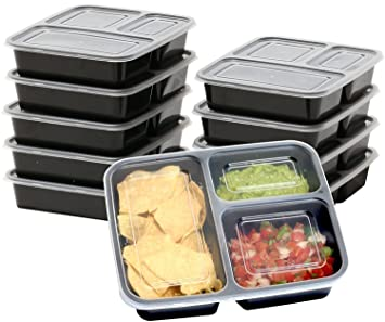 Romote 10 Pack 3 Compartment Food Meal Prep Storage Container,Reusable,  Stackable,