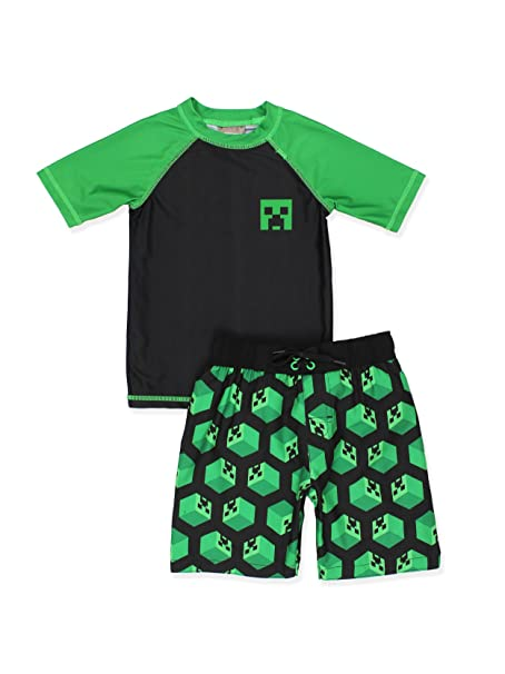 Amazon.com: Minecraft Creeper Niños Swim Trunks y Rash Guard ...
