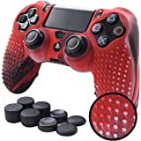 Pandaren STUDDED Anti-slip Silicone Cover Skin Set for PlaySation 4 controller(CamouRed controller skin x 1 + FPS PRO Thumb Grips x 8)