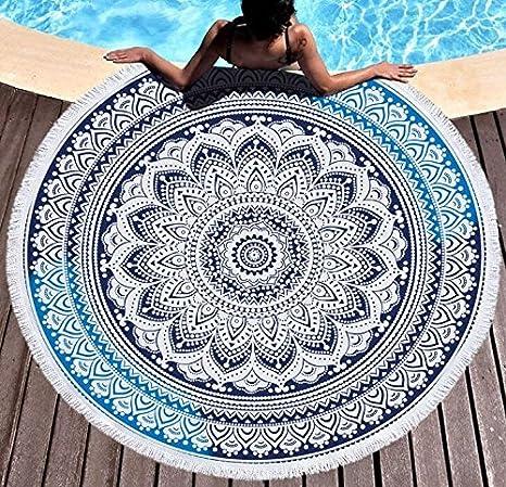 IMEI Indio Mandala Ronda Playa Manta con Flecos, Suave Boho Playa Manta Toalla, tapete de Pared, Yoga Alfombrilla de Picnic (Gran tamaño: Amazon.es: Hogar