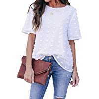 Blooming Jelly Dames Witte T-shirts Chiffon Blouses Zomer Casual Ronde Hals Korte Mouw Zwitserse Dot Overhemden Tops