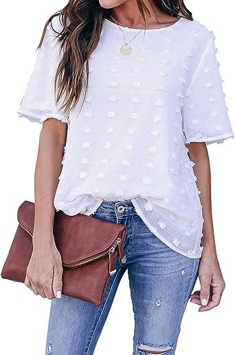 Blooming Jelly - Blusa de gasa para mujer, cuello redondo, manga corta, diseño de lunares suizos, color blanco: Amazon.es: Ropa y accesorios