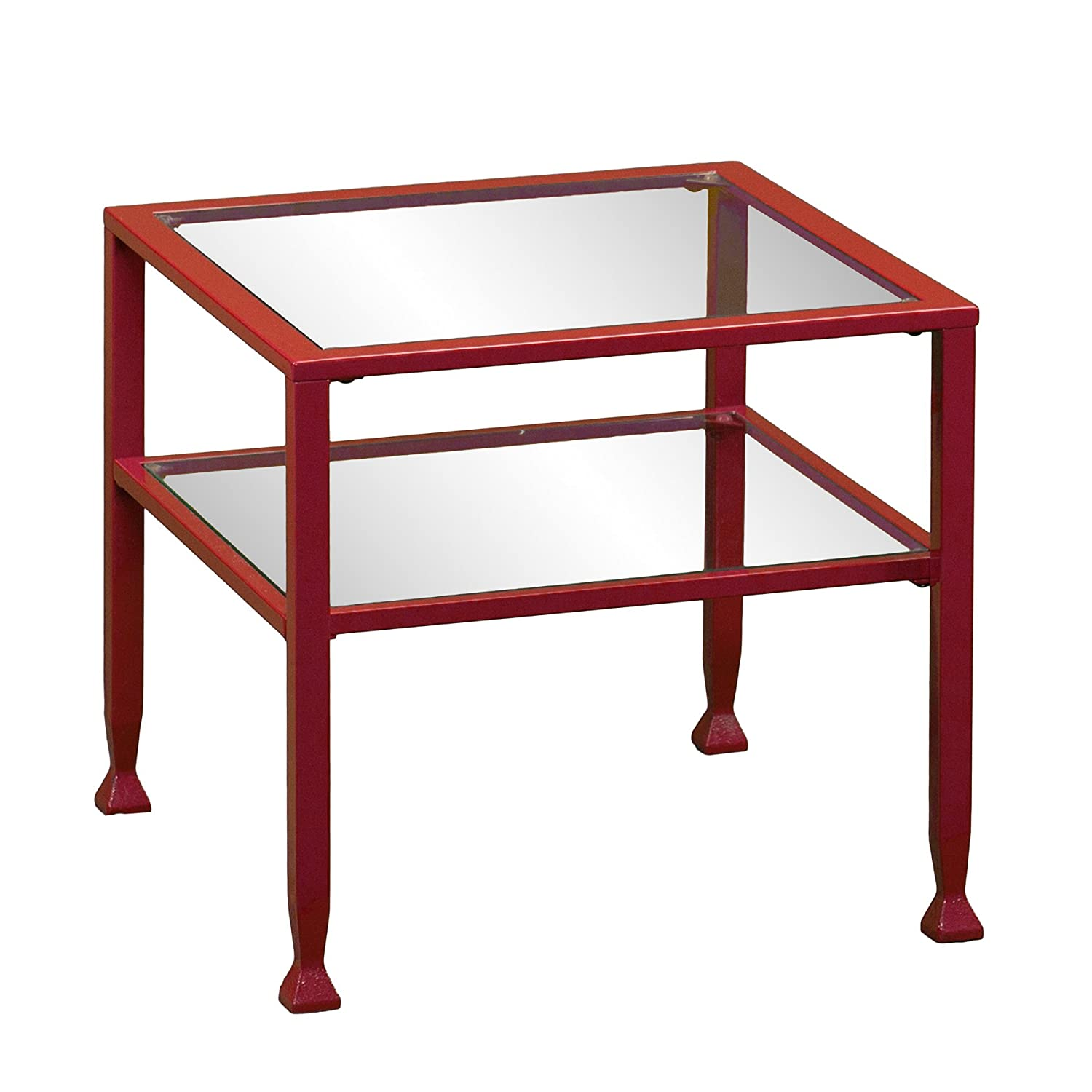 Amazon.com: Metal/Glass Bunching Cocktail Table   Red: Kitchen U0026 Dining