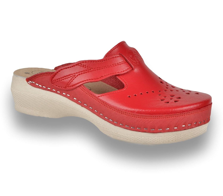 LEON PU156 Sabots Mules Chaussons Chaussures en Cuir Femme Dames