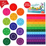 Simply Magic 166 PCS Magnetic Fraction Tiles & Fraction Circles - Math Manipulatives for Elementary School - Fraction Magnets
