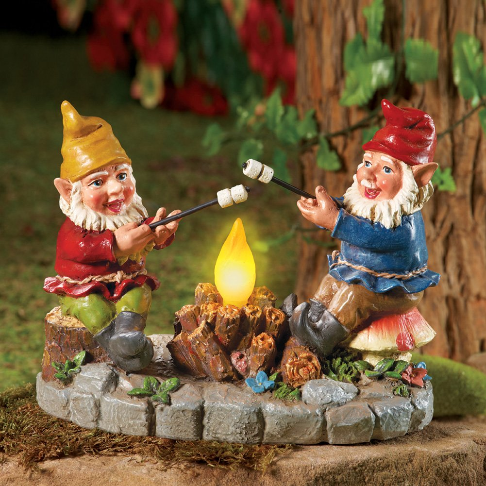 Amazon.com : Solar Campfire Light Garden Gnomes, with Hand-painted ...