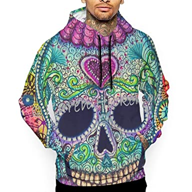 4ee6836e0290 Amazon.com  Dead Sugar Skull Wallpaper Men s Digital Print Hooded Sweater  Pullover Sweatshirt Top Hoodie  Clothing