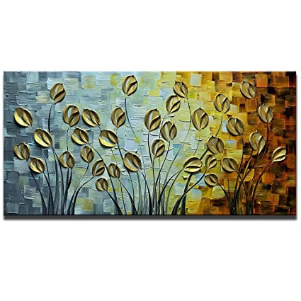 Asdam Art 100 Hand Painted 3D Oil Paintings On Canvas Gold Daisy Flower