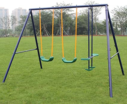 Amazon Com Klb Sport A Frame Metal Swing Set Toys Games