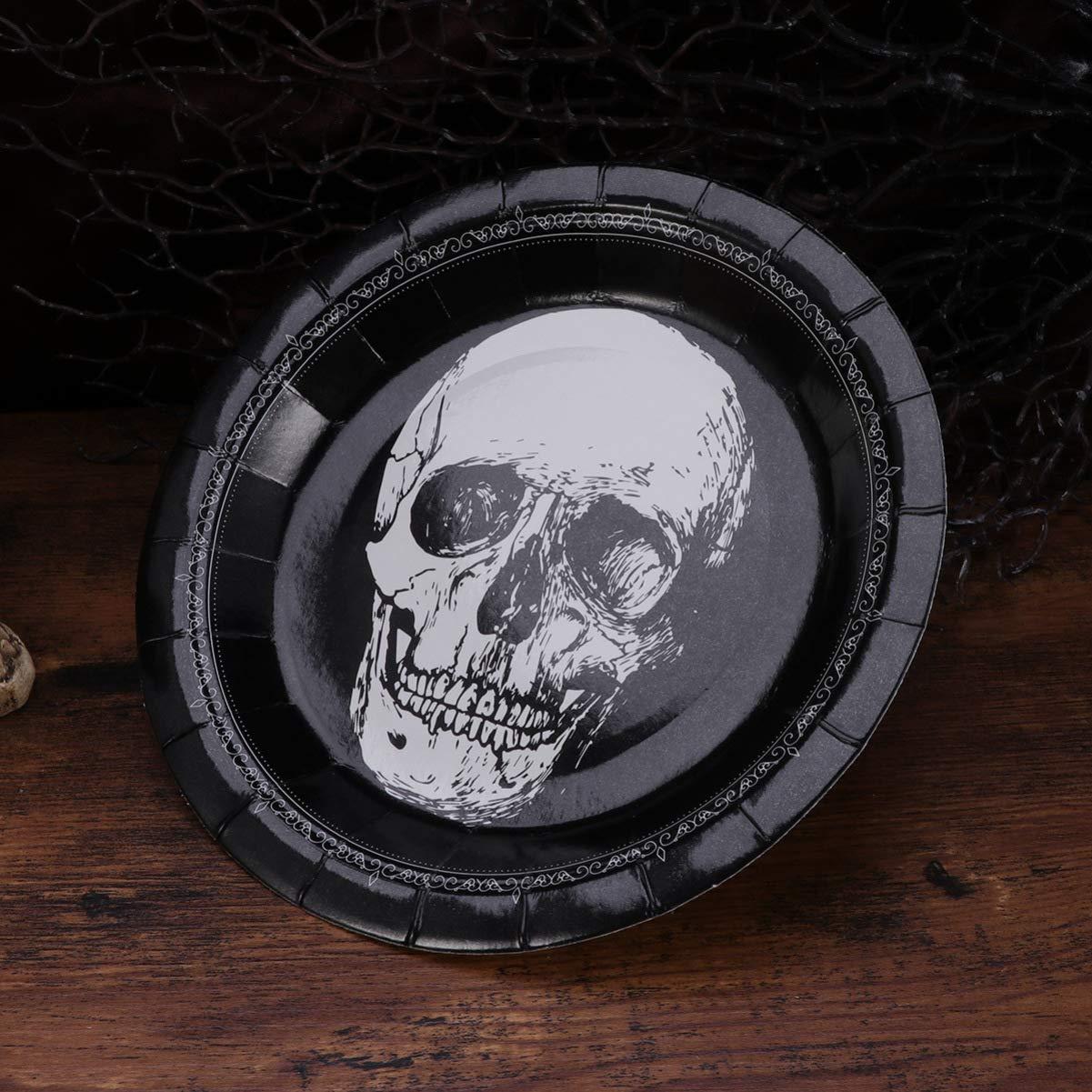 UPKOCH 20 Piezas Platos de Halloween Platos Desechables Platos de Papel con patr/ón de Calavera favores de Fiesta de Halloween