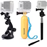 TEKCAM Action Camera Accessories Kits Bundle for Gopro/ Lightdow LD4000 LD6000/DBPOWER/APEMAN/AKASO EK7000 4K 1080P Waterproof Sports Action Camera Included Car Suction Cup Floating Mount and Tripod