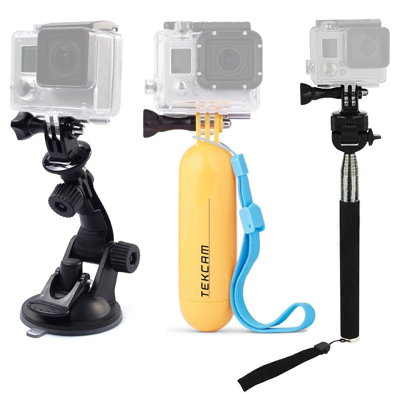 TEKCAM Action Camera Accessories Kits Bundle Compatible for Gopro Hero 6 5/AKASO EK7000/APEMAN/Campark/DBPOWER 1080P Waterproof Sports Action Camera Car Suction Cup Floating Mount and Selfie Stick