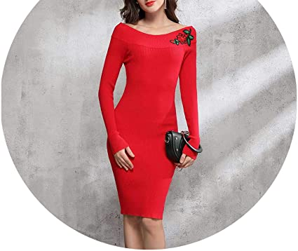 Off The Shoulder Midi Sweater Dress Red Online Retailer 7b0b2 1c39e