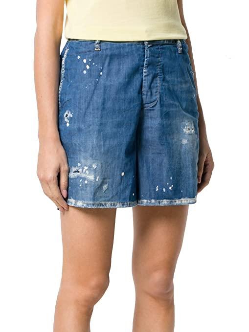 DSquared Dsquared2 Women's S72mu0265s30341470 Blue Cotton Shorts:  Amazon.co.uk: Clothing
