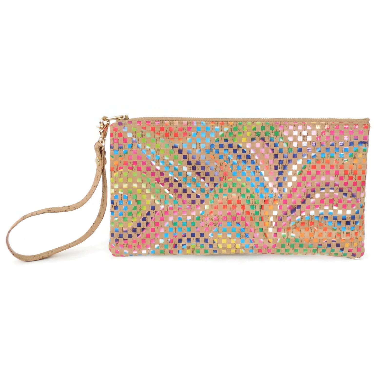 Vegan Wristlet Clutch Purse in Mosaic Cork Fabric by Spicer Bags