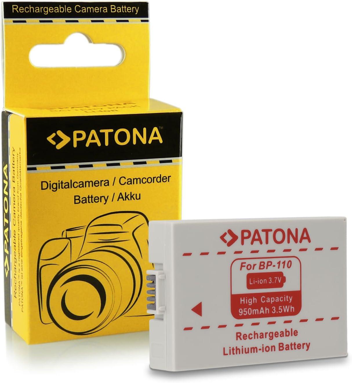 PATONA/® Battery BP-110/BP110/for Canon Legria HF R26HF R27 2x Battery 4 in 1 Charger HF R200/ Pack of 2 HF R206/Canon Vixia HF R20 HF R28/Canon Legria HF R205 HF R21