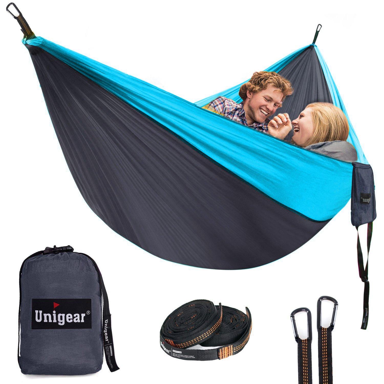 Unigearダブルキャンピングハンモック、ポータブルパラシュートナイロンハンモックのツリーストラップforバックパッキング、キャンプ、ハイキング、旅行、ビーチ、ヤード B07C6YVRBV  Gllow23 320cm x 200cm