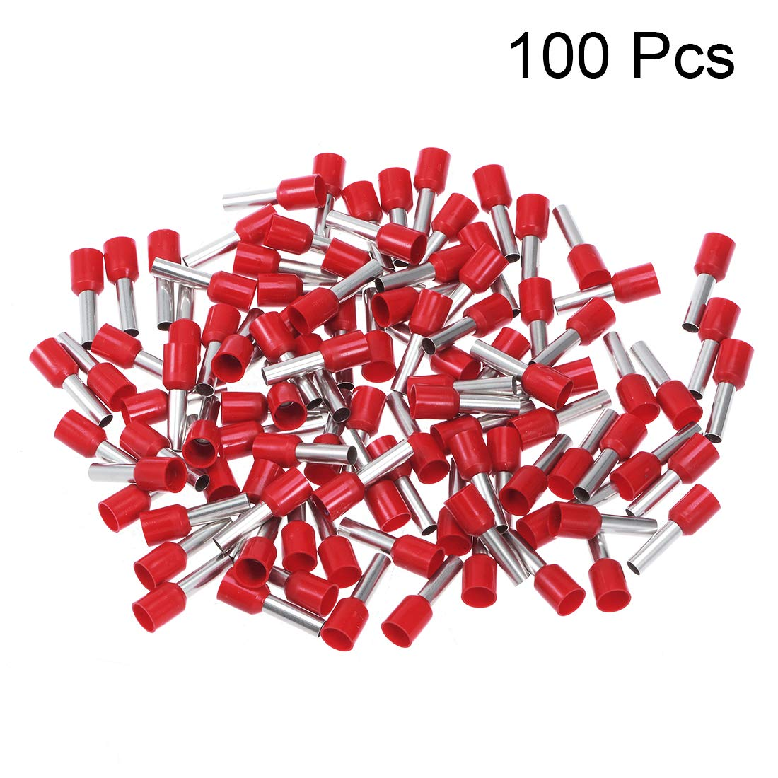 uxcell VE2510 Insulated Cord Pin End Wire Connector Electrical Crimp Terminal AWG14 Red 1000Pcs